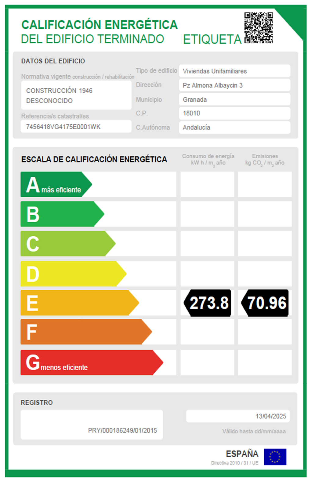 Etiqueta de Calificacion Energetica